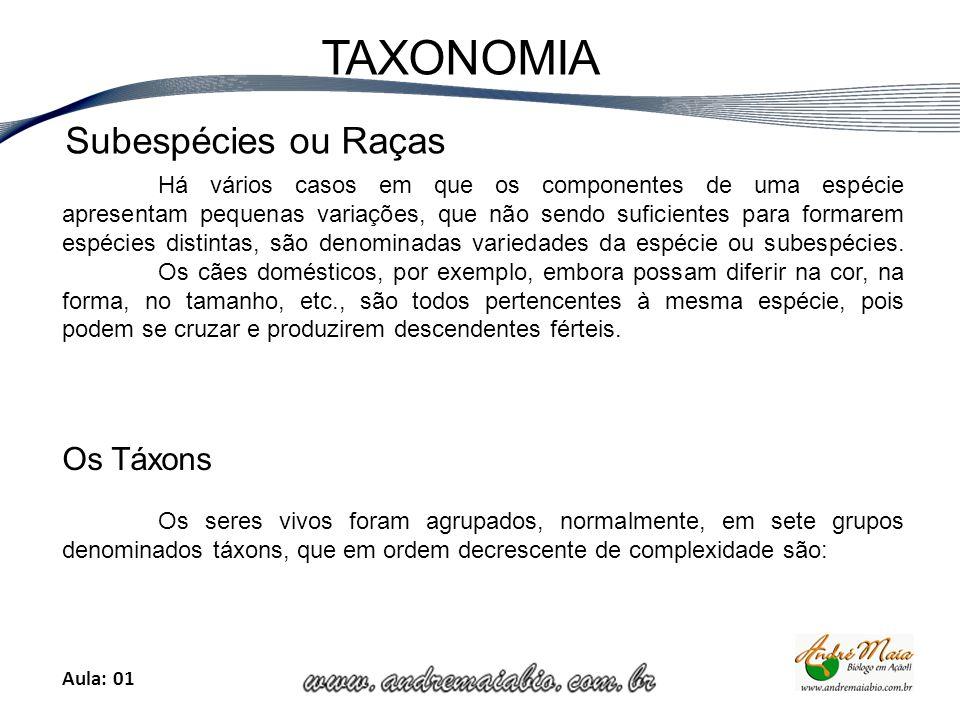 Aula: 01 TAXONOMIA Há vários casos em que os componentes de uma espécie apresentam pequenas variações, que não sendo suficientes para formarem espécies distintas, são denominadas variedades da espécie ou subespécies.
