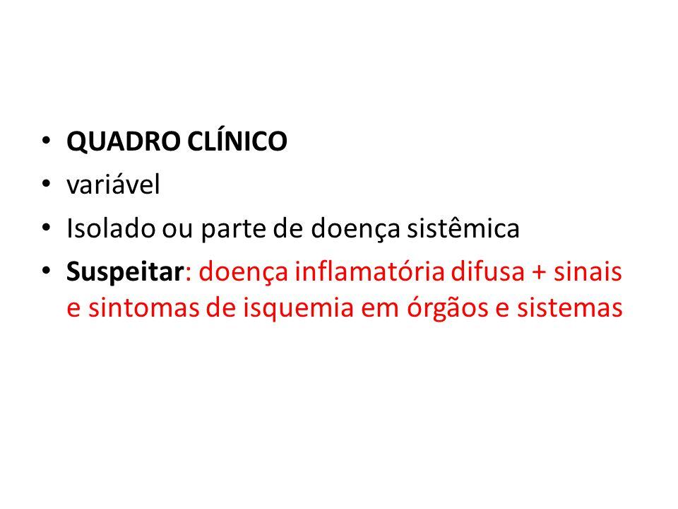 QUADRO CLÍNICO variável Isolado ou parte de doença sistêmica Suspeitar: doença inflamatória difusa + sinais e sintomas de isquemia em órgãos e sistema