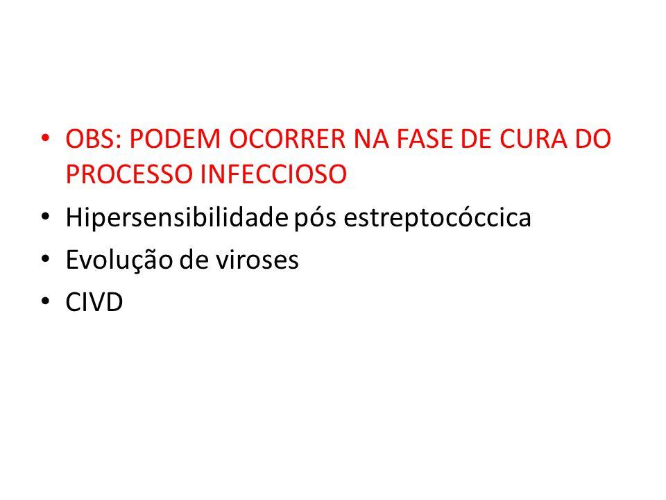 OBS: PODEM OCORRER NA FASE DE CURA DO PROCESSO INFECCIOSO Hipersensibilidade pós estreptocóccica Evolução de viroses CIVD