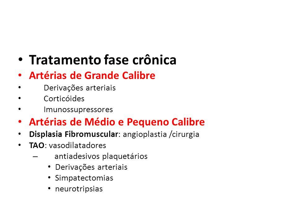 Tratamento fase crônica Artérias de Grande Calibre Derivações arteriais Corticóides Imunossupressores Artérias de Médio e Pequeno Calibre Displasia Fi