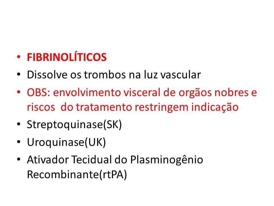 FIBRINOLÍTICOS Dissolve os trombos na luz vascular OBS: envolvimento visceral de orgãos nobres e riscos do tratamento restringem indicação Streptoquin