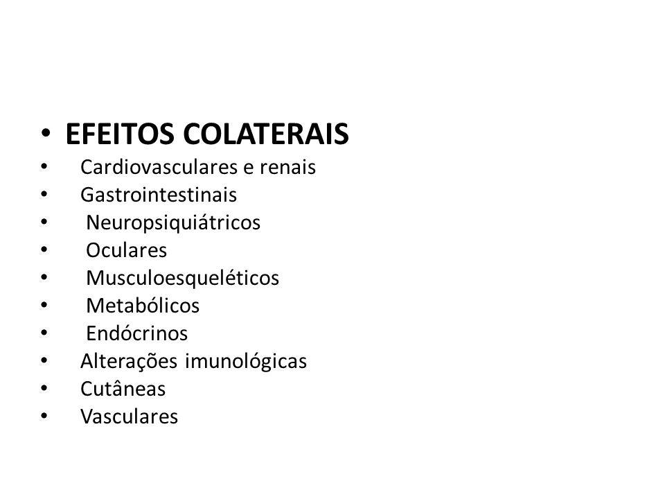 EFEITOS COLATERAIS Cardiovasculares e renais Gastrointestinais Neuropsiquiátricos Oculares Musculoesqueléticos Metabólicos Endócrinos Alterações imuno