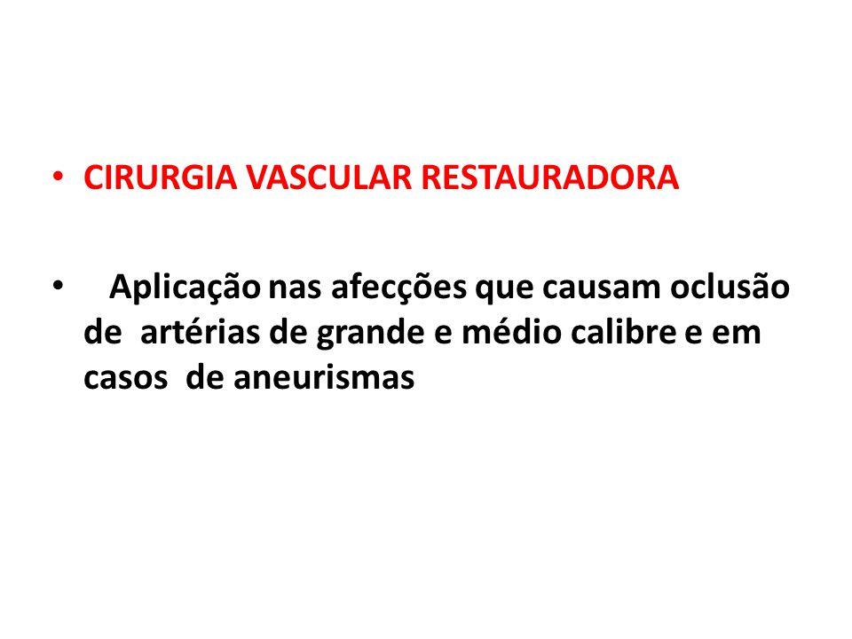 CIRURGIA VASCULAR RESTAURADORA Aplicação nas afecções que causam oclusão de artérias de grande e médio calibre e em casos de aneurismas