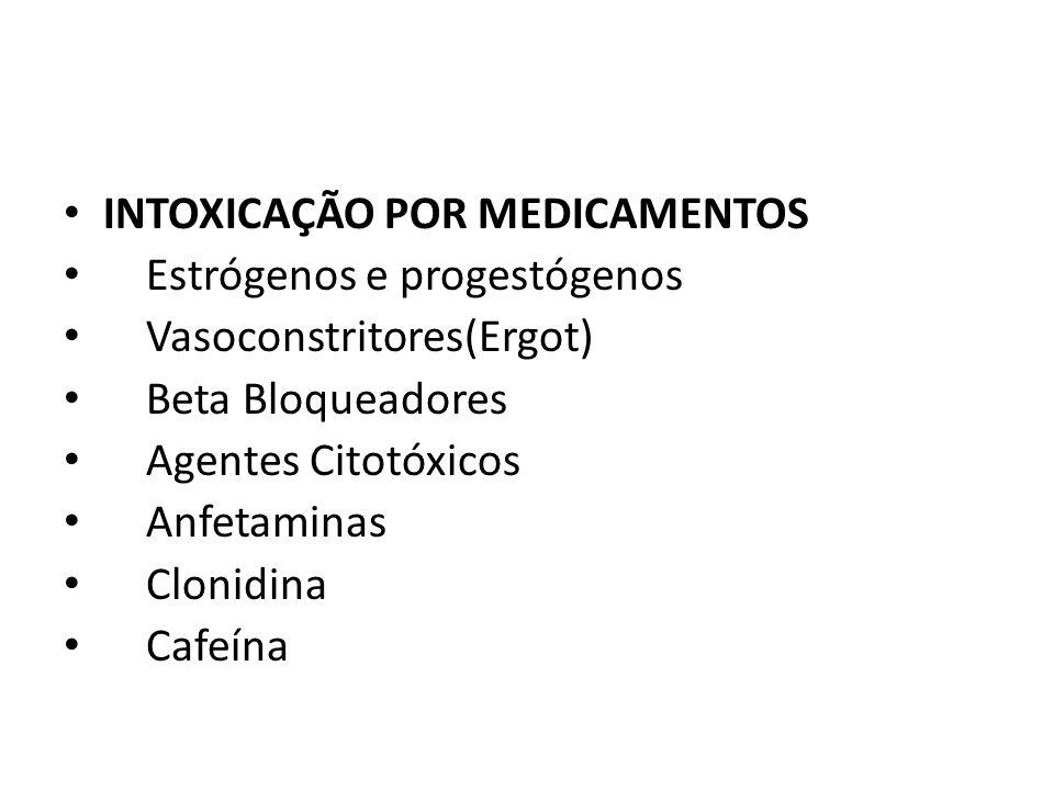 INTOXICAÇÃO POR MEDICAMENTOS Estrógenos e progestógenos Vasoconstritores(Ergot) Beta Bloqueadores Agentes Citotóxicos Anfetaminas Clonidina Cafeína
