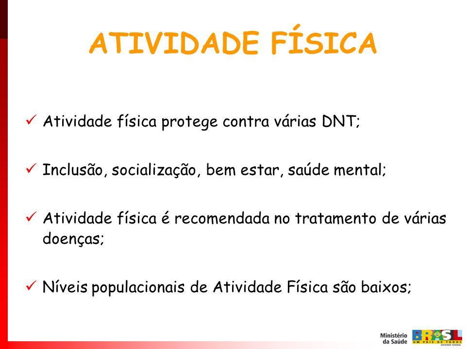 ATIVIDADE FÍSICA Atividade física protege contra várias DNT; Inclusão, socialização, bem estar, saúde mental; Atividade física é recomendada no tratam