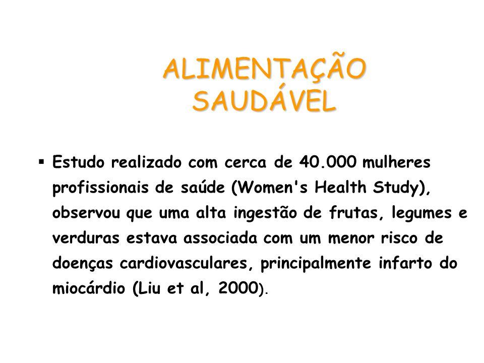 ALIMENTAÇÃO SAUDÁVEL  Estudo realizado com cerca de 40.000 mulheres profissionais de saúde (Women's Health Study), observou que uma alta ingestão de