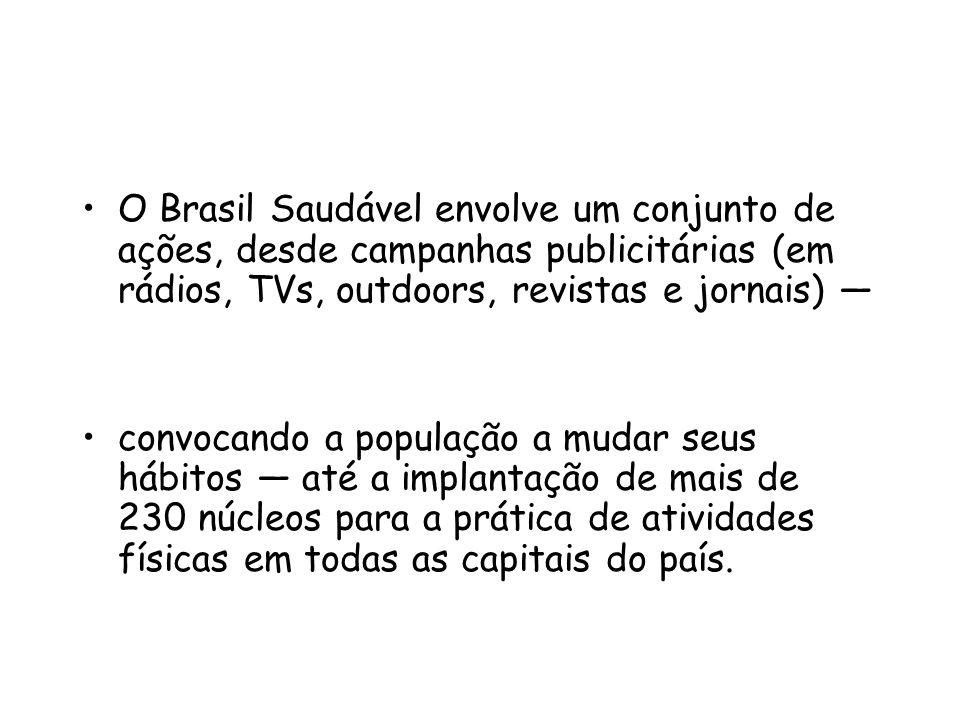 O Brasil Saudável envolve um conjunto de ações, desde campanhas publicitárias (em rádios, TVs, outdoors, revistas e jornais) — convocando a população