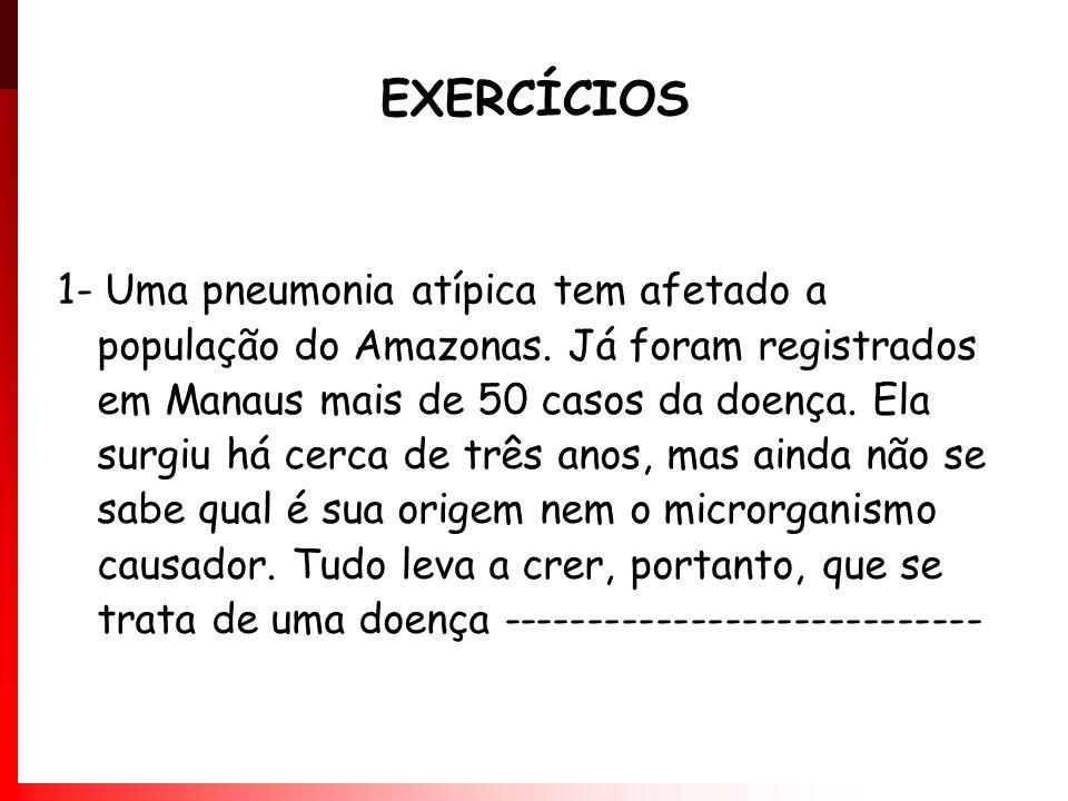 1- Uma pneumonia atípica tem afetado a população do Amazonas. Já foram registrados em Manaus mais de 50 casos da doença. Ela surgiu há cerca de três a