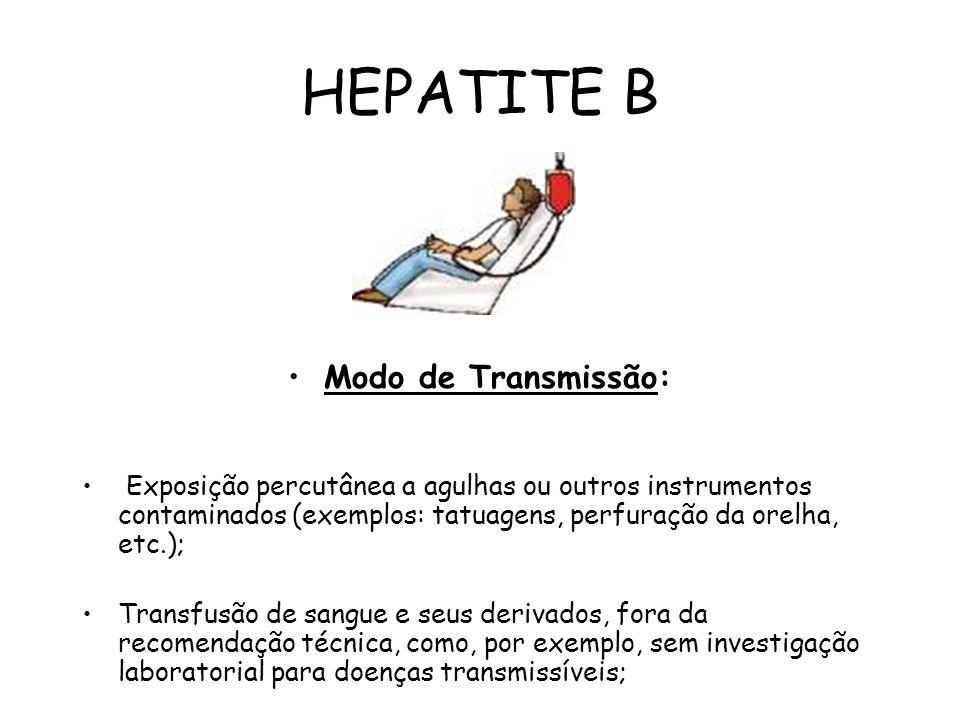 HEPATITE B Modo de Transmissão: Exposição percutânea a agulhas ou outros instrumentos contaminados (exemplos: tatuagens, perfuração da orelha, etc.);