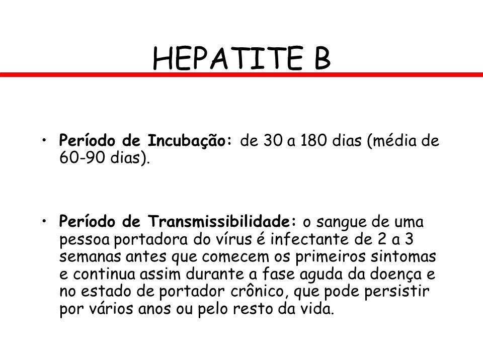 HEPATITE B Período de Incubação: de 30 a 180 dias (média de 60-90 dias). Período de Transmissibilidade: o sangue de uma pessoa portadora do vírus é in