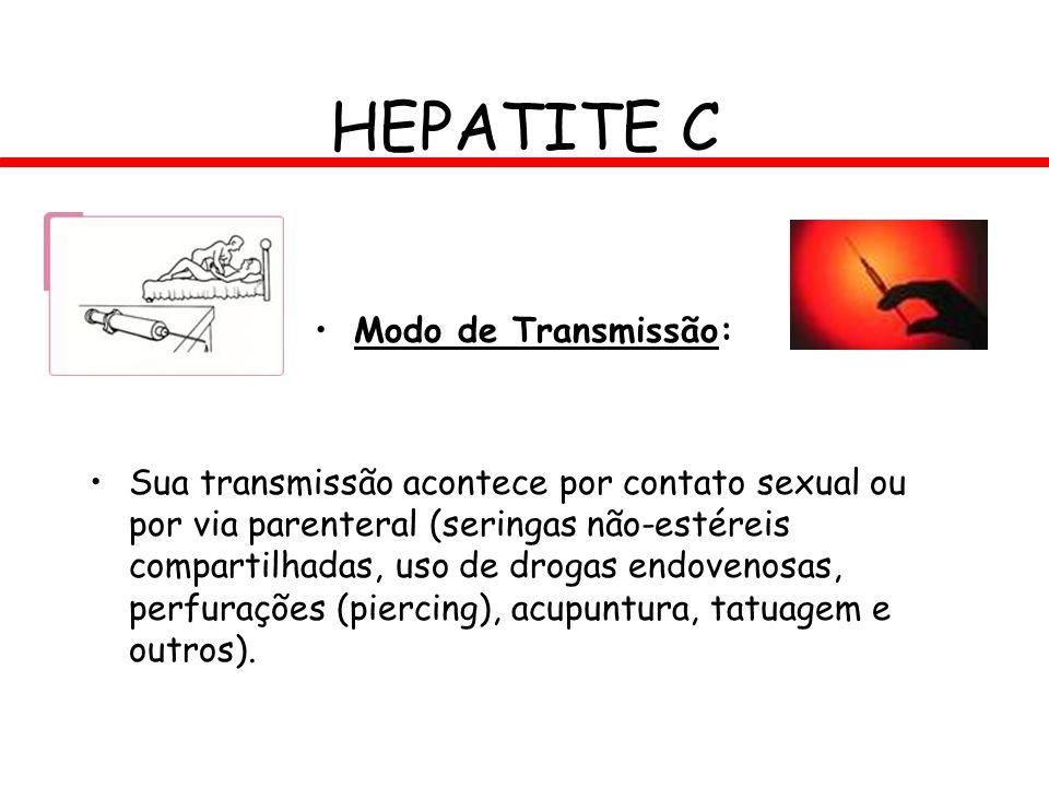 HEPATITE C Modo de Transmissão: Sua transmissão acontece por contato sexual ou por via parenteral (seringas não-estéreis compartilhadas, uso de drogas