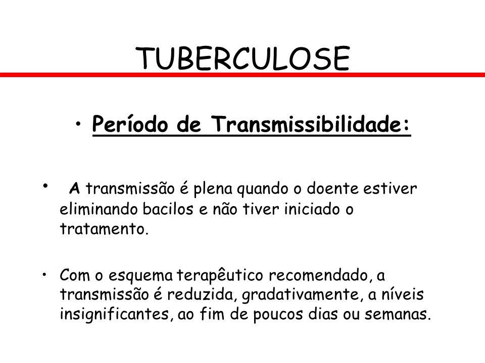 Período de Transmissibilidade: A transmissão é plena quando o doente estiver eliminando bacilos e não tiver iniciado o tratamento. Com o esquema terap