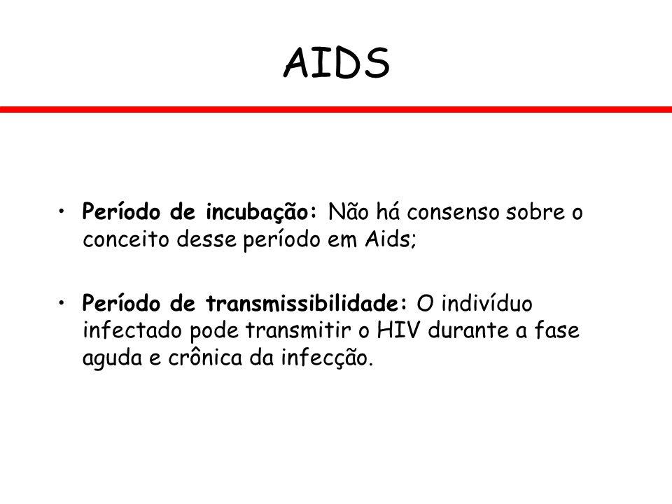 AIDS Período de incubação: Não há consenso sobre o conceito desse período em Aids; Período de transmissibilidade: O indivíduo infectado pode transmiti
