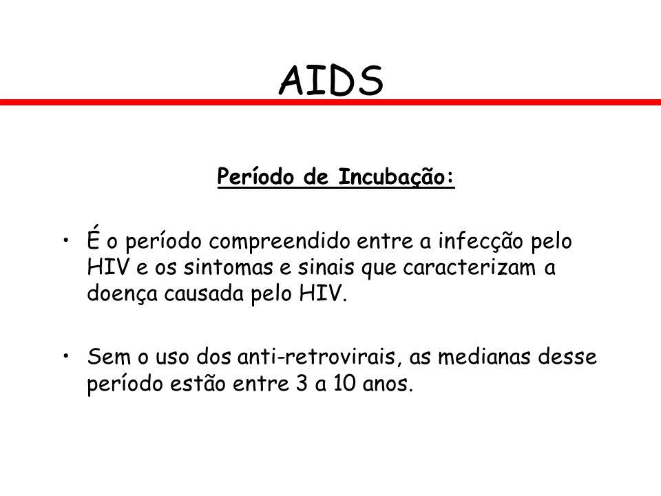 Período de Incubação: É o período compreendido entre a infecção pelo HIV e os sintomas e sinais que caracterizam a doença causada pelo HIV. Sem o uso