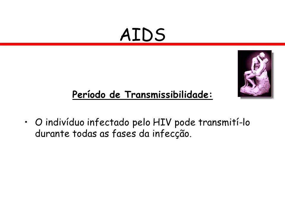 AIDS Período de Transmissibilidade: O indivíduo infectado pelo HIV pode transmití-lo durante todas as fases da infecção.