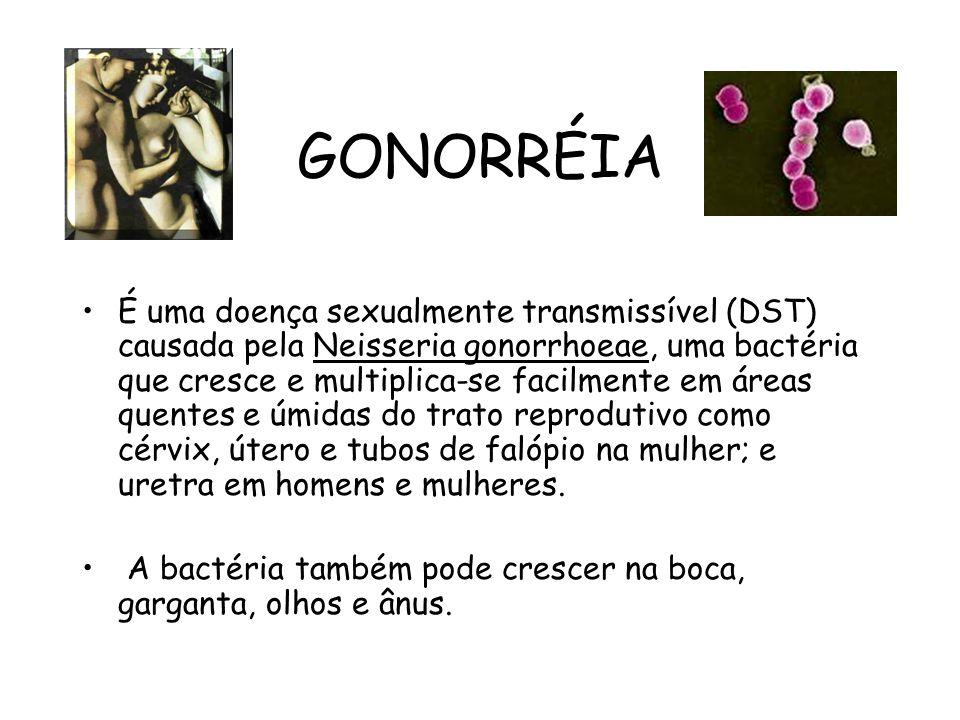 GONORRÉIA É uma doença sexualmente transmissível (DST) causada pela Neisseria gonorrhoeae, uma bactéria que cresce e multiplica-se facilmente em áreas