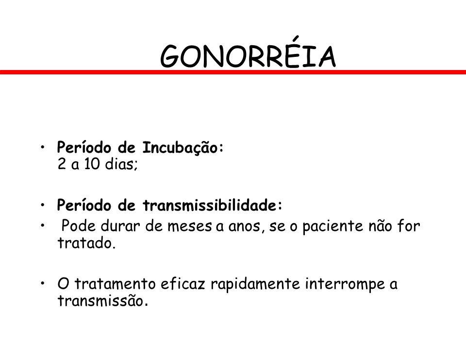 GONORRÉIA Período de Incubação: 2 a 10 dias; Período de transmissibilidade: Pode durar de meses a anos, se o paciente não for tratado. O tratamento ef