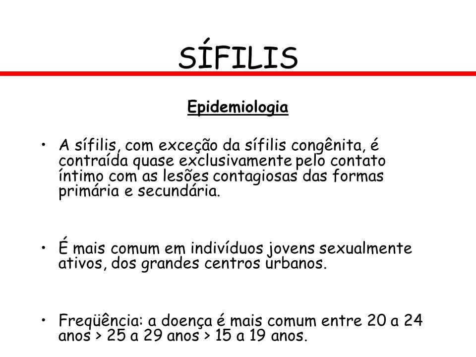 SÍFILIS Epidemiologia A sífilis, com exceção da sífilis congênita, é contraída quase exclusivamente pelo contato íntimo com as lesões contagiosas das