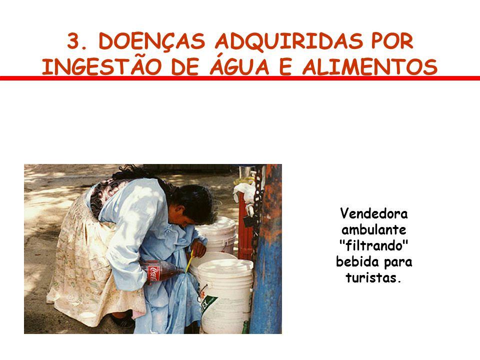 3. DOENÇAS ADQUIRIDAS POR INGESTÃO DE ÁGUA E ALIMENTOS Vendedora ambulante