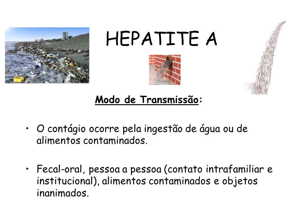 HEPATITE A Modo de Transmissão: O contágio ocorre pela ingestão de água ou de alimentos contaminados. Fecal-oral, pessoa a pessoa (contato intrafamili