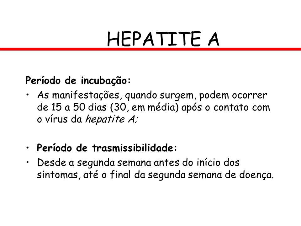 HEPATITE A Período de incubação: As manifestações, quando surgem, podem ocorrer de 15 a 50 dias (30, em média) após o contato com o vírus da hepatite