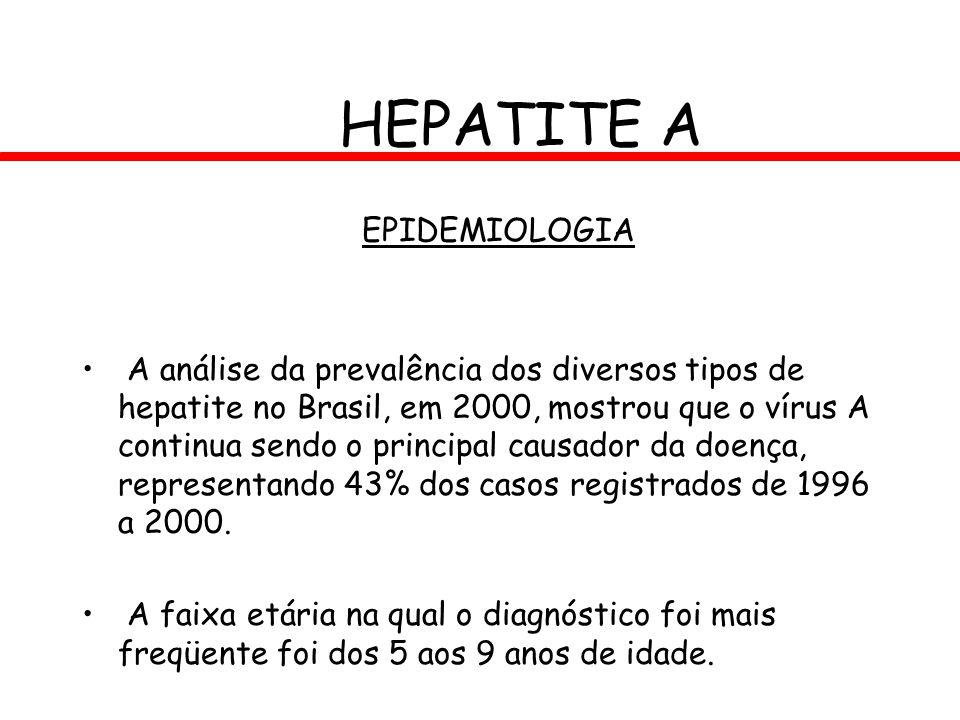 HEPATITE A EPIDEMIOLOGIA A análise da prevalência dos diversos tipos de hepatite no Brasil, em 2000, mostrou que o vírus A continua sendo o principal