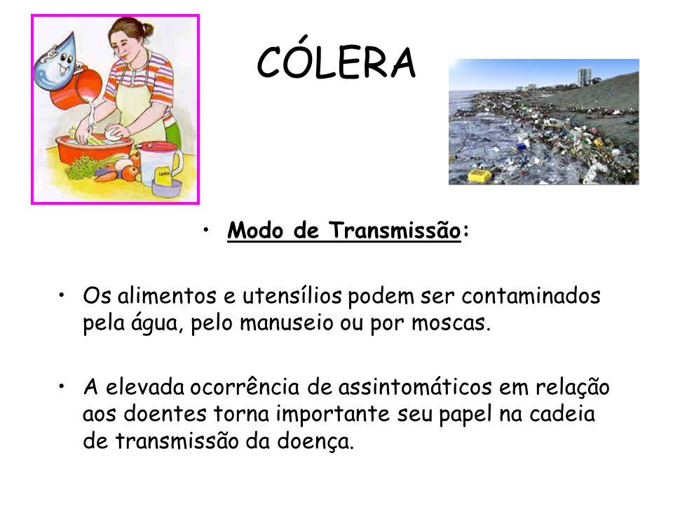 CÓLERA Modo de Transmissão: Os alimentos e utensílios podem ser contaminados pela água, pelo manuseio ou por moscas. A elevada ocorrência de assintomá