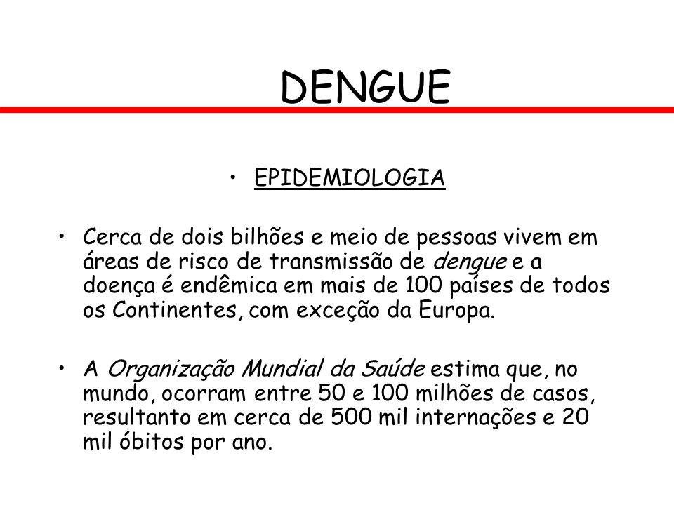DENGUE EPIDEMIOLOGIA Cerca de dois bilhões e meio de pessoas vivem em áreas de risco de transmissão de dengue e a doença é endêmica em mais de 100 paí