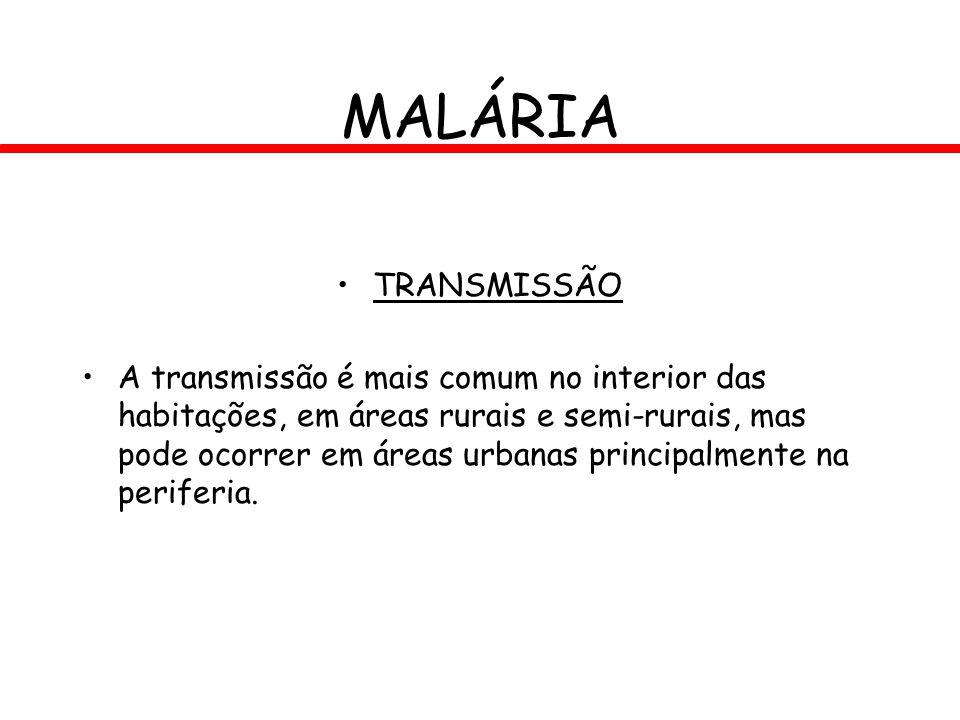 MALÁRIA TRANSMISSÃO A transmissão é mais comum no interior das habitações, em áreas rurais e semi-rurais, mas pode ocorrer em áreas urbanas principalm
