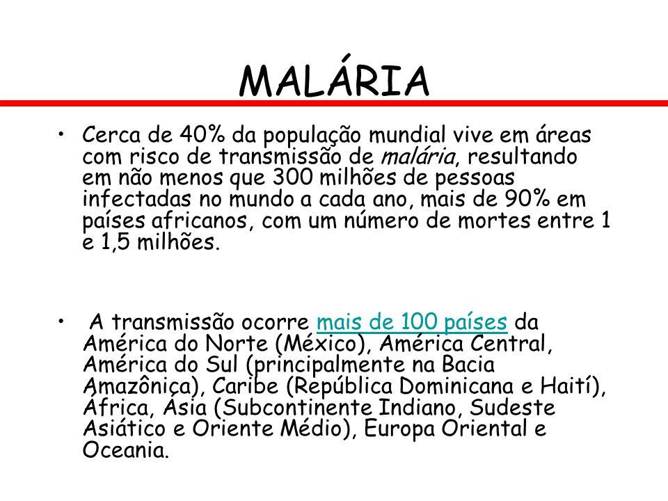 MALÁRIA Cerca de 40% da população mundial vive em áreas com risco de transmissão de malária, resultando em não menos que 300 milhões de pessoas infect