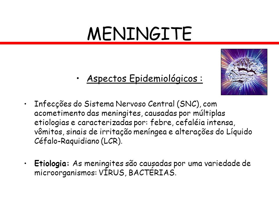 MENINGITE Aspectos Epidemiológicos : Infecções do Sistema Nervoso Central (SNC), com acometimento das meningites, causadas por múltiplas etiologias e