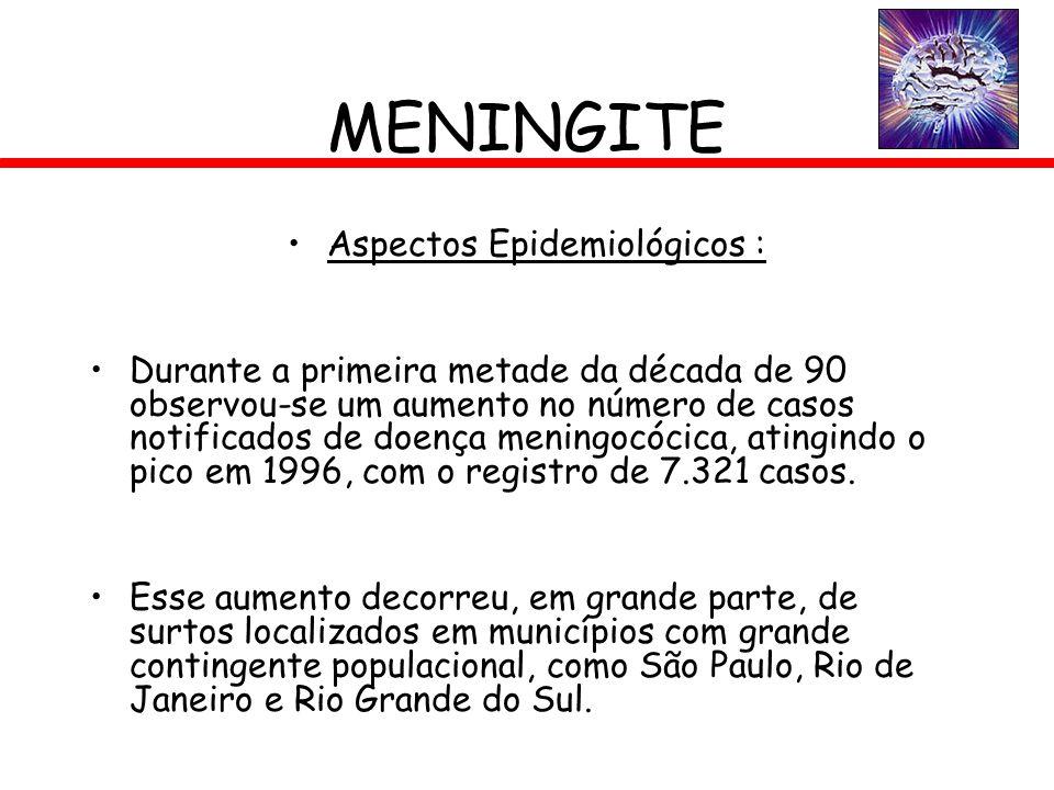 MENINGITE Aspectos Epidemiológicos : Durante a primeira metade da década de 90 observou-se um aumento no número de casos notificados de doença meningo