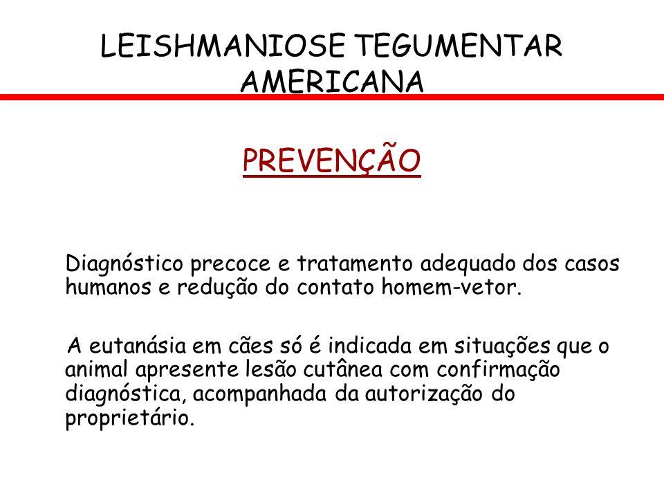 PREVENÇÃO Diagnóstico precoce e tratamento adequado dos casos humanos e redução do contato homem-vetor. A eutanásia em cães só é indicada em situações