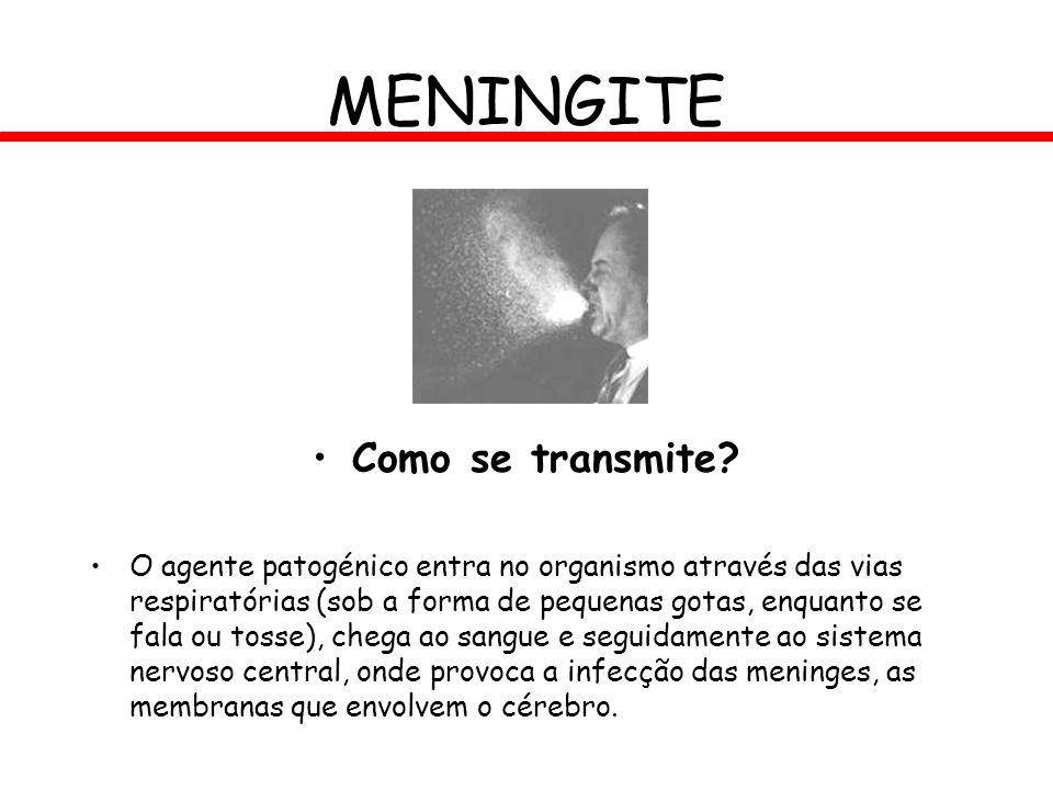 MENINGITE Como se transmite? O agente patogénico entra no organismo através das vias respiratórias (sob a forma de pequenas gotas, enquanto se fala ou