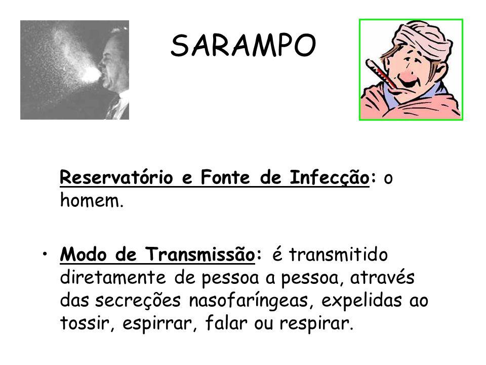 SARAMPO Reservatório e Fonte de Infecção: o homem. Modo de Transmissão: é transmitido diretamente de pessoa a pessoa, através das secreções nasofaríng