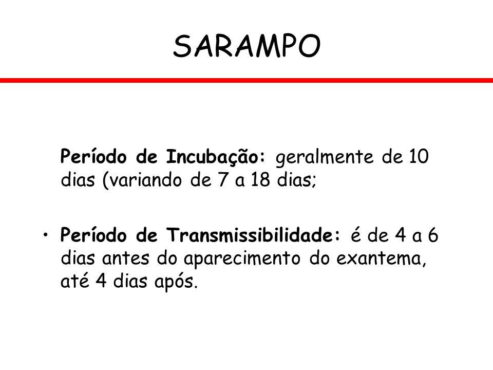 SARAMPO Período de Incubação: geralmente de 10 dias (variando de 7 a 18 dias; Período de Transmissibilidade: é de 4 a 6 dias antes do aparecimento do