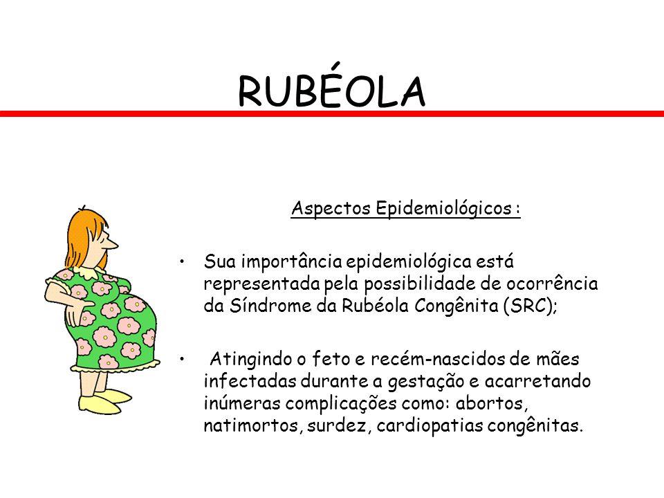 RUBÉOLA Aspectos Epidemiológicos : Sua importância epidemiológica está representada pela possibilidade de ocorrência da Síndrome da Rubéola Congênita