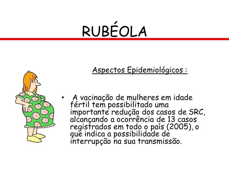 RUBÉOLA Aspectos Epidemiológicos : A vacinação de mulheres em idade fértil tem possibilitado uma importante redução dos casos de SRC, alcançando a oco