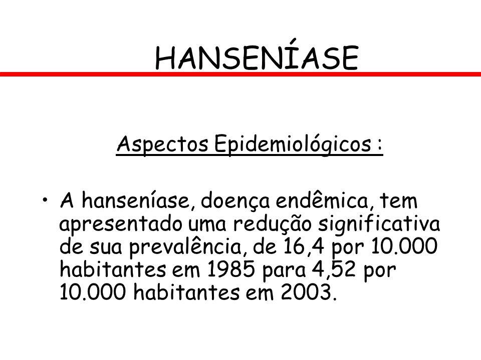 HANSENÍASE Aspectos Epidemiológicos : A hanseníase, doença endêmica, tem apresentado uma redução significativa de sua prevalência, de 16,4 por 10.000