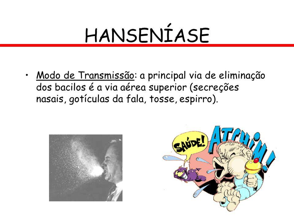 HANSENÍASE Modo de Transmissão: a principal via de eliminação dos bacilos é a via aérea superior (secreções nasais, gotículas da fala, tosse, espirro)