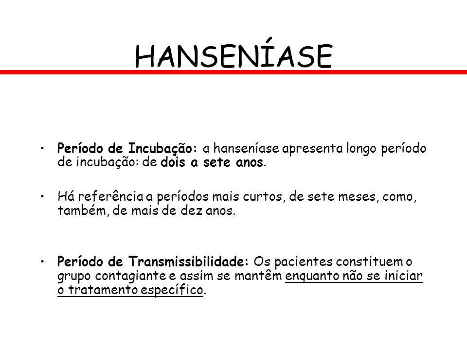 HANSENÍASE Período de Incubação: a hanseníase apresenta longo período de incubação: de dois a sete anos. Há referência a períodos mais curtos, de sete