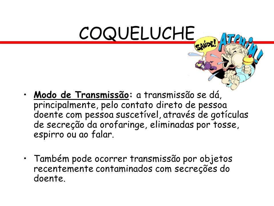 COQUELUCHE Modo de Transmissão: a transmissão se dá, principalmente, pelo contato direto de pessoa doente com pessoa suscetível, através de gotículas