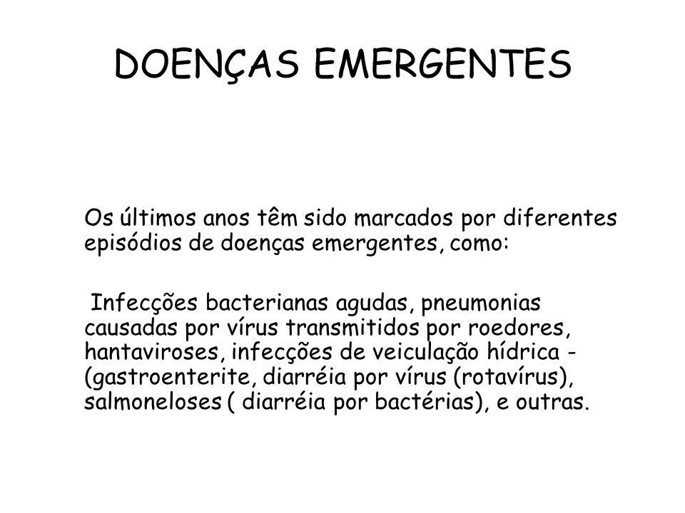 DOENÇAS EMERGENTES Os últimos anos têm sido marcados por diferentes episódios de doenças emergentes, como: Infecções bacterianas agudas, pneumonias ca