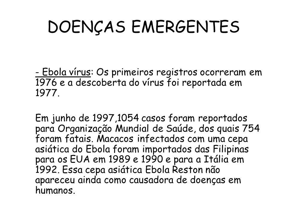 DOENÇAS EMERGENTES - Ebola vírus: Os primeiros registros ocorreram em 1976 e a descoberta do vírus foi reportada em 1977. Em junho de 1997,1054 casos