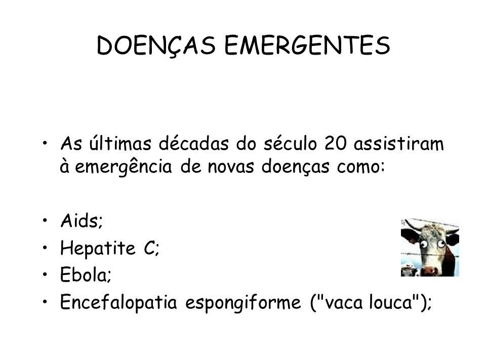 DOENÇAS EMERGENTES As últimas décadas do século 20 assistiram à emergência de novas doenças como: Aids; Hepatite C; Ebola; Encefalopatia espongiforme