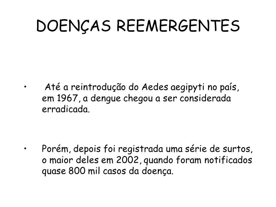 DOENÇAS REEMERGENTES Até a reintrodução do Aedes aegipyti no país, em 1967, a dengue chegou a ser considerada erradicada. Porém, depois foi registrada