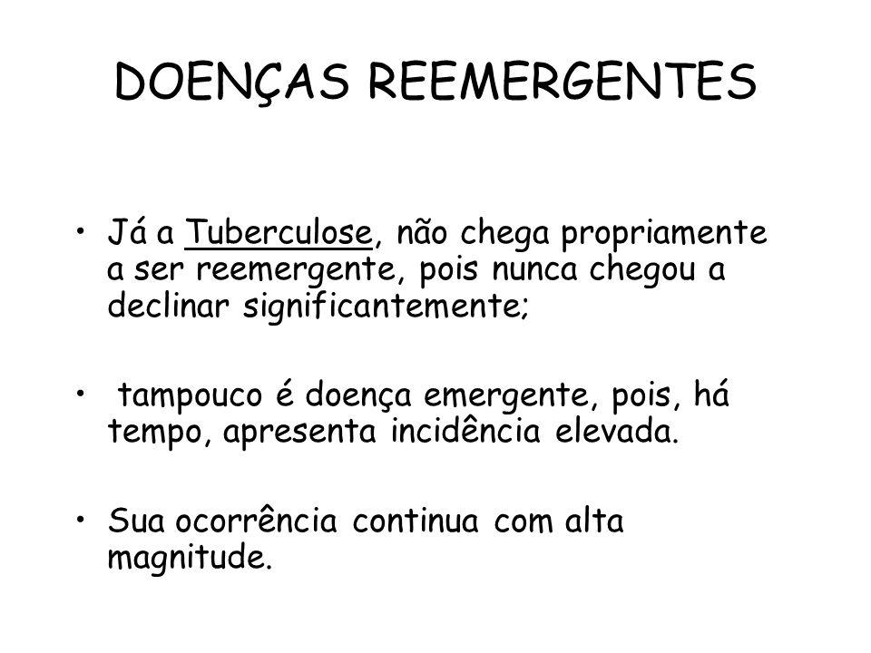 DOENÇAS REEMERGENTES Já a Tuberculose, não chega propriamente a ser reemergente, pois nunca chegou a declinar significantemente; tampouco é doença eme