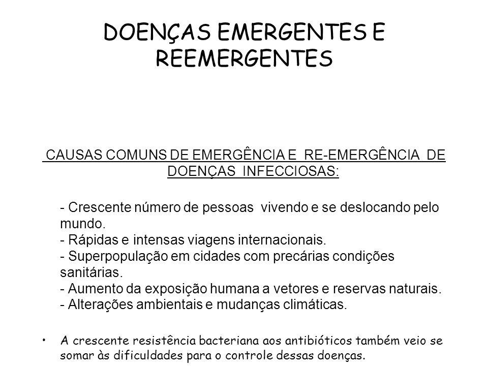 DOENÇAS EMERGENTES E REEMERGENTES CAUSAS COMUNS DE EMERGÊNCIA E RE-EMERGÊNCIA DE DOENÇAS INFECCIOSAS: - Crescente número de pessoas vivendo e se deslo
