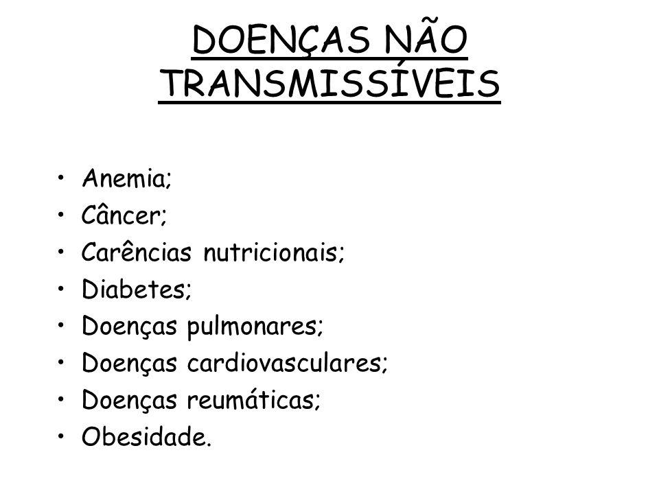 Anemia; Câncer; Carências nutricionais; Diabetes; Doenças pulmonares; Doenças cardiovasculares; Doenças reumáticas; Obesidade. DOENÇAS NÃO TRANSMISSÍV
