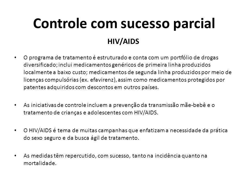 Controle com sucesso parcial HIV/AIDS O programa de tratamento é estruturado e conta com um portfólio de drogas diversificado; inclui medicamentos gen